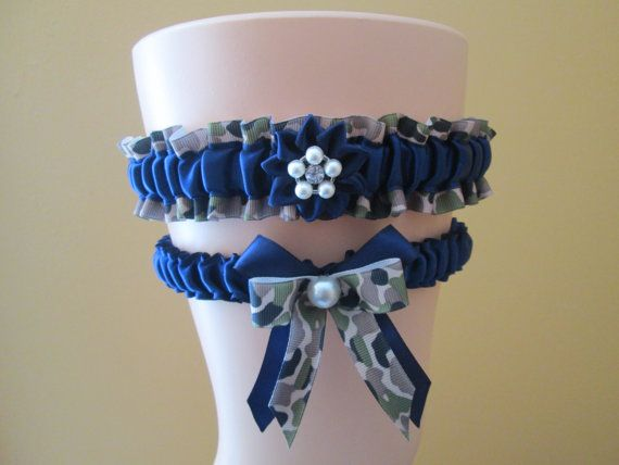 Military Navy CAMO Wedding Garter Set, Navy Bridal Garters, Navy Blue Garter, Something Blue, Air Force- Country- Military Bride