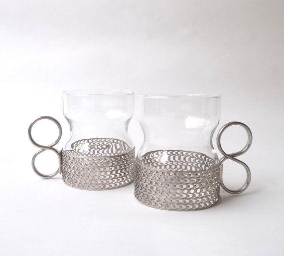 Modernist Tsaikka Glass Mugs by Timo Sarpaneva