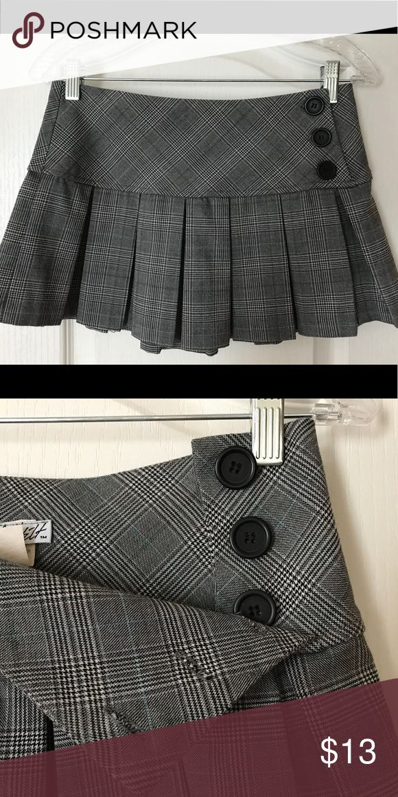 "Plaid, ""schoolgirl"" style mini-skirt Plaid, ""schoolgirl"" style, micro mini-skirt. Buttons do open! Full Tilt Skirts Mini"