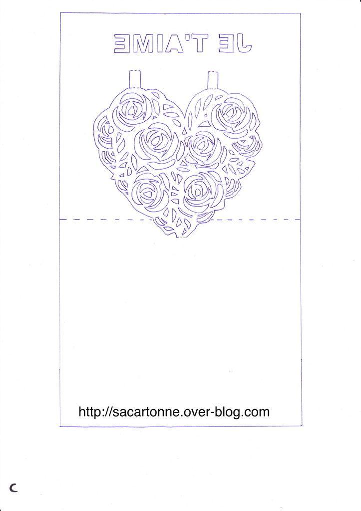 Kirigami gratuit coeur de roses de 1
