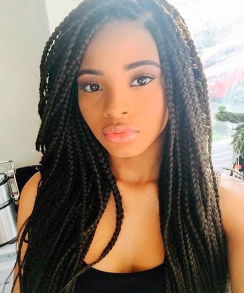Box braids natural hairstyle for African American women                                                                                                                                                      More