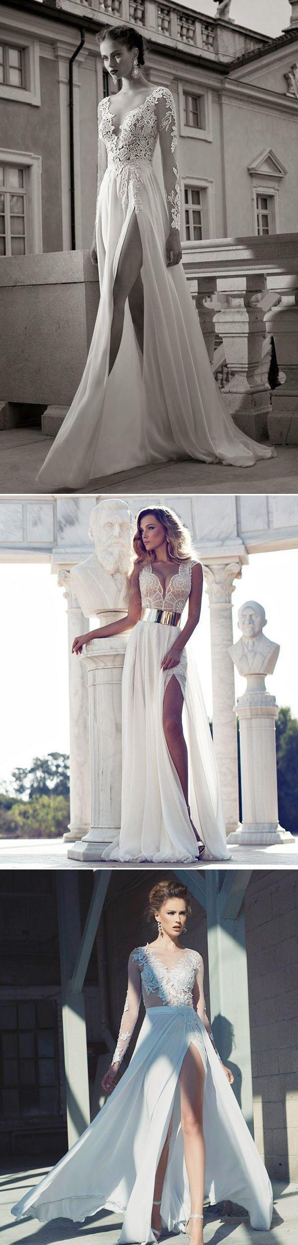 Sexy & Sophisticated High Slit Wedding Dresses 2016 - Deer Pearl Flowers