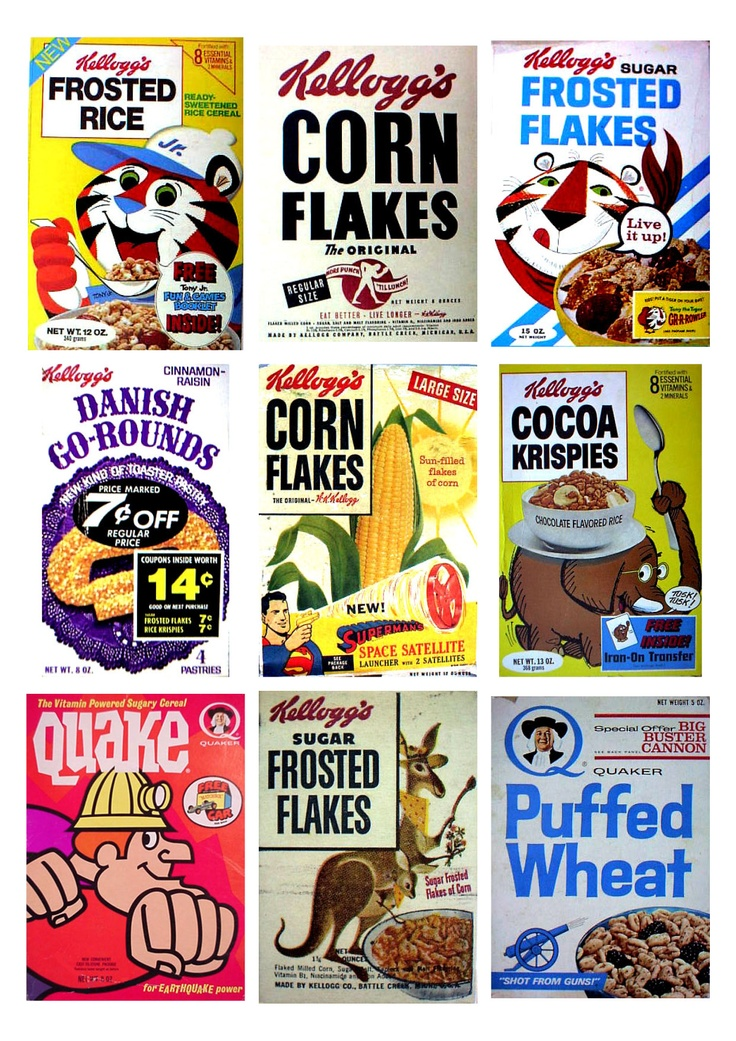 #Vintage #Retro #Kellogg's Cereal Packaging