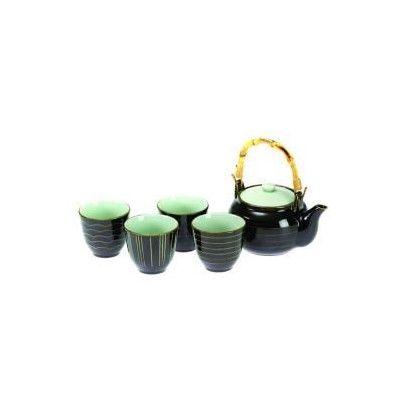 5Pc+Tea+Set+-+Kyoto+Brown