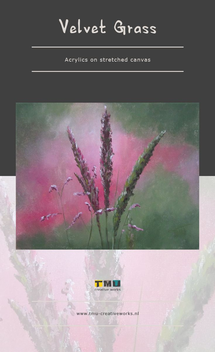 Small acrylic painting of Velvet Grass, original flower ...