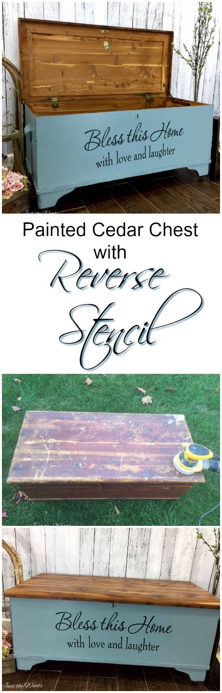 Painted Cedar Chest makeover with wood grain top and reversed stencil on front using vinyl decals.