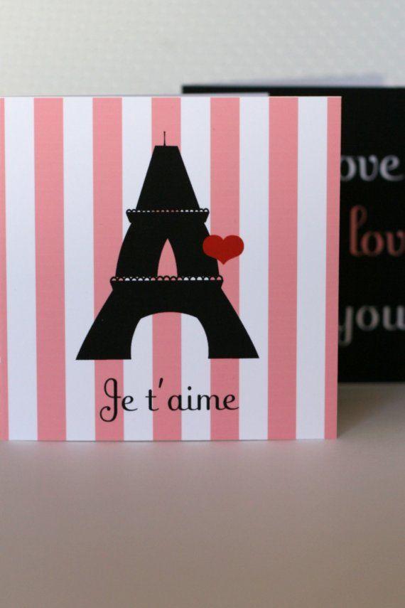 Valentine's Day Mini Notecards  Printable French by tomkatstudio