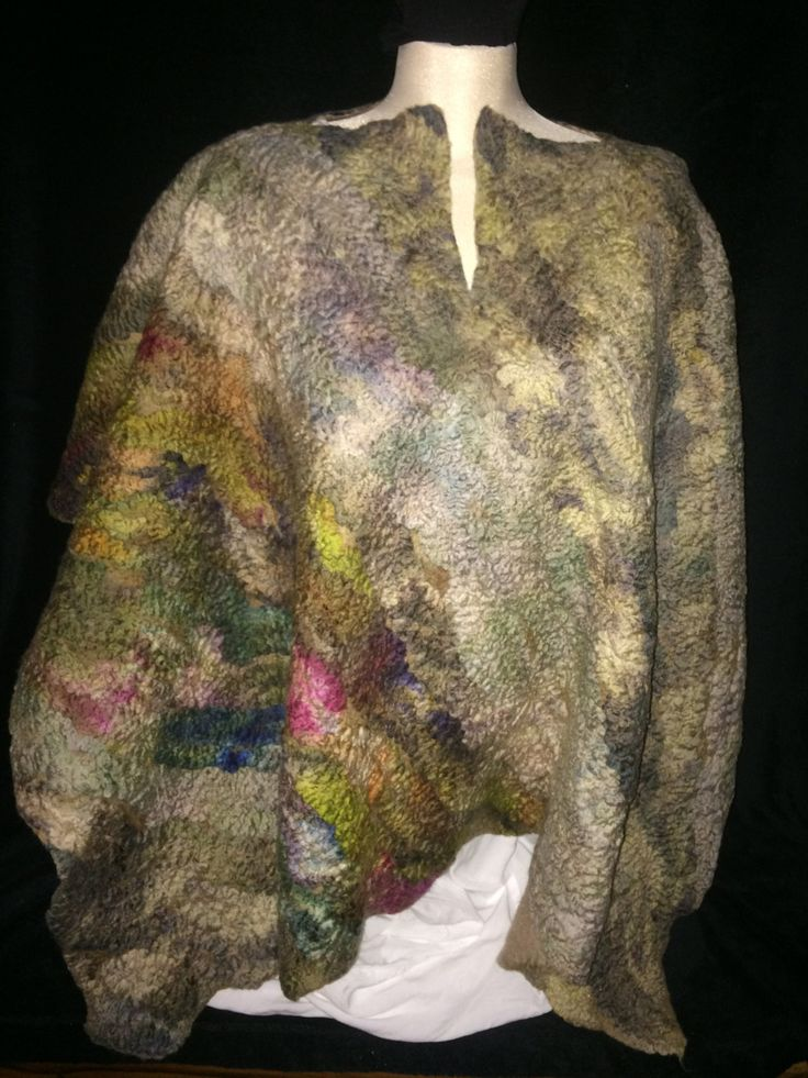 Ponch/wrap hand made in merino wool hand dyed wet felted garment by FeltTheFluff on Etsy
