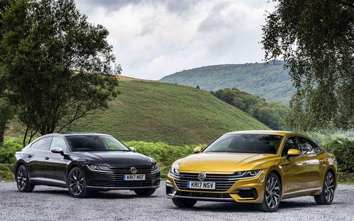 Indir duvar kağıdı 4k, Volkswagen Arteon, 2017 arabalar, lüks arabalar, siyah Arteon, VW, Volkswagen