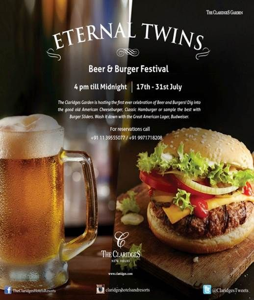 Dig into some juicy, succulent burgers and wash them down with some brews at The Claridges Garden!