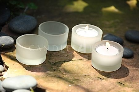 Tealight Holders and tealight Candles Set for weddings. Frosted Tealight Candles