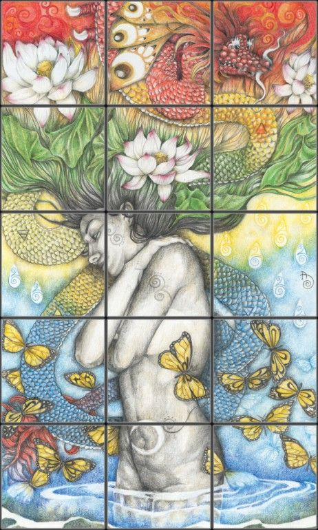 Erotic Asian Tile Mural | Pacifica Tile Art Studio