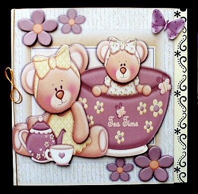 Cute Pair of Bears Having Tea 8x8 Mini Kit on Craftsuprint created by Diane  Hitchcox - I printed out onto 220 gram card and mounted on a 8 by 8 border punched card ,decoupaged using foam pads and attached a gold elasticated bow down spine.