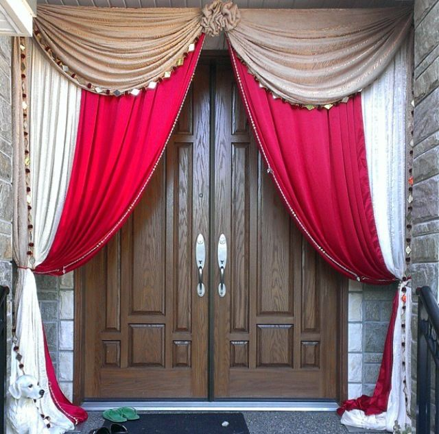 Maharani House Decor Front Door Draping Backdrop in Red and Gold Wedding decor available @idesignevents