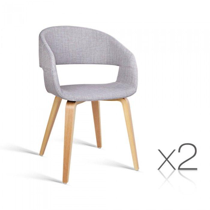 2 x Modern Dining Chairs - Light Grey