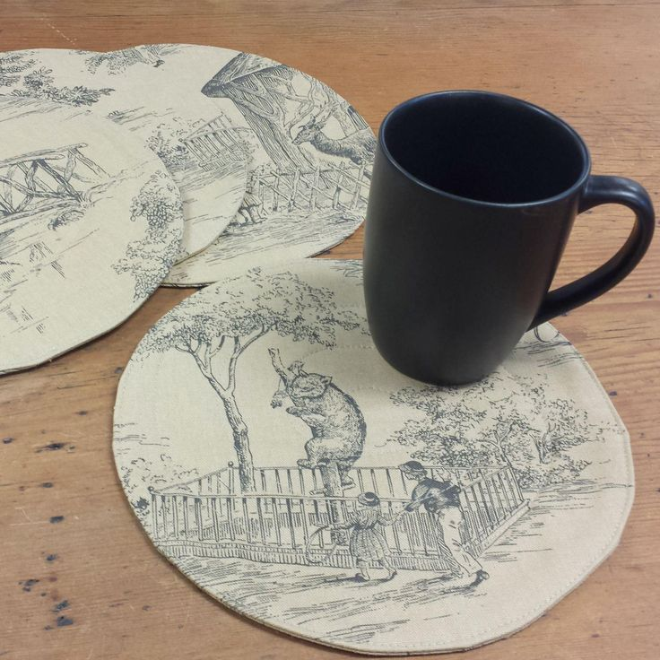 Round Quilted Mug Rugs/Snack Mats/Placemats in Victorian Zoo Toile Novelty Cotton Fabric, Black Taupe by FeeneyLane on Etsy