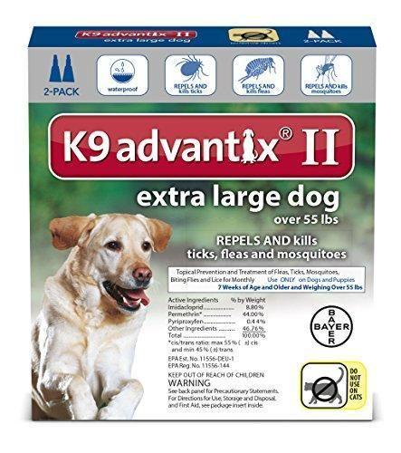 Bayer Advantix II Flea Treatment Extra Large Dog over 55 lbs 2 Pack