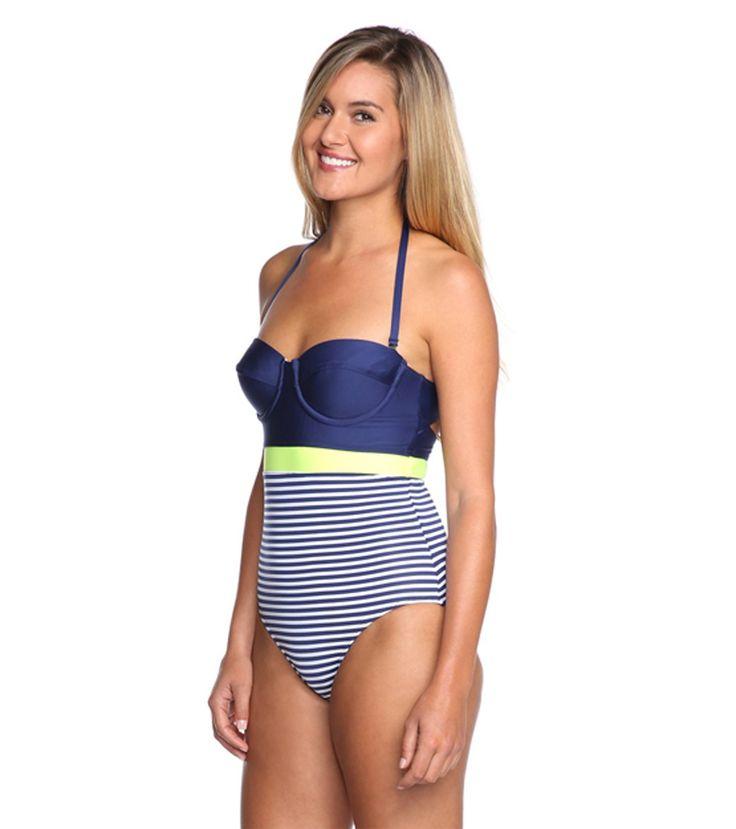 Splendid Malibu Stripe Underwire One Piece Swimsuit at SwimOutlet.com - The Web's most popular swim shop
