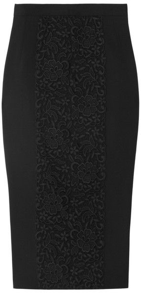 Lacepaneled Woolblend Pencil Skirt