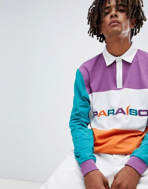 1a07e89e1aa ASOS DESIGN rugby long sleeve polo shirt with color block panels and  paraiso embroidery