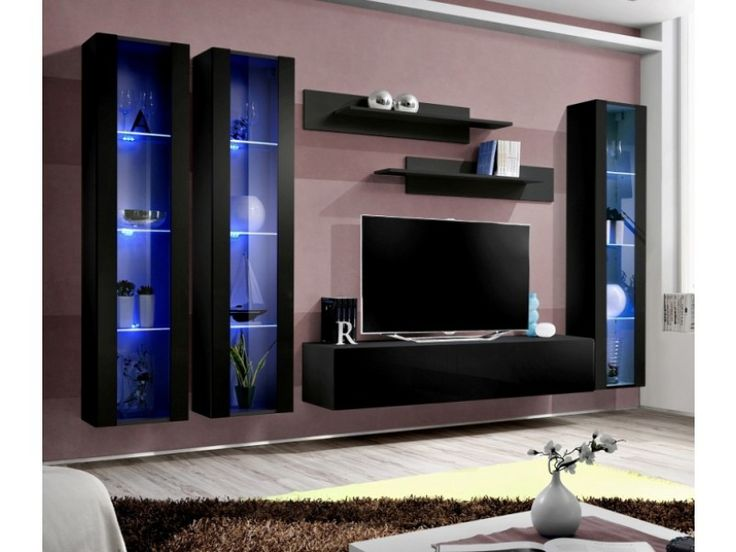 "Idea d8 - Modern Black Entertainment center with LED lights Wall units made of high quality materials. Furniture that fits perfectly well into every living room. Total dimensions: Height: 190 cm / 74,8"" Width: 310 cm / 126,0"" Depth: 40 cm / 15,7"""
