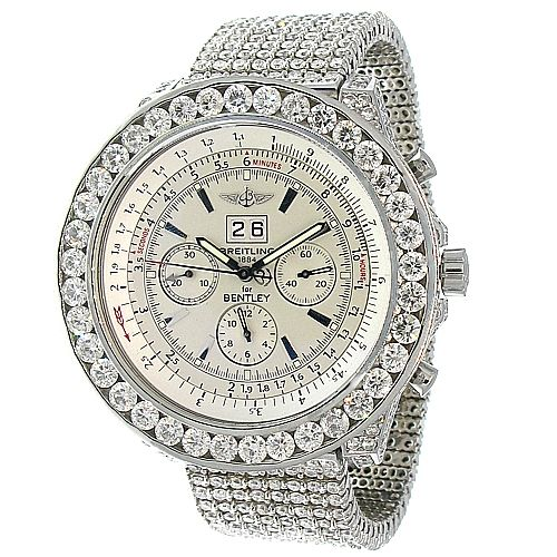 Breitling Bentley With Approximately 40ctw Diamonds. Http