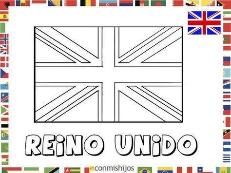 Bandera de Reino Unido. Dibujos de banderas para pintar
