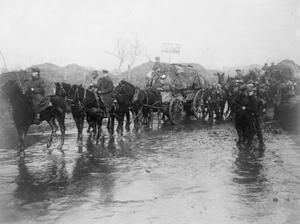 WWI, Nov 1916, Somme. British ration wagons on the muddy -flooded-road, Montauban. ©IWM