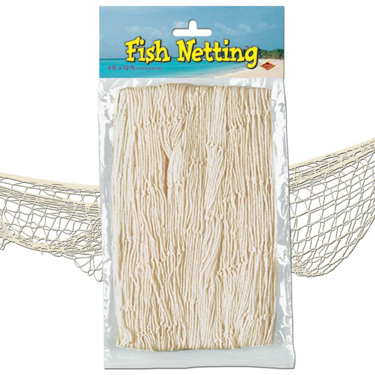 Fish Netting measures 3.6m x 1.2m. An effective beach party prop, suspend on wall or ceiling, add twinkling fairy lights, fish & lanterns for truly tropical beach party style