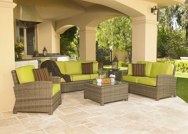 Silver Coast Bainbridge 4 Piece Custom Outdoor Willow Wicker Patio Seating Set