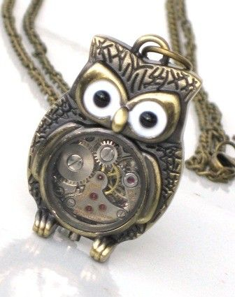 Steampunk - Time Flys MR OWL Pendant- Jeweled Watch Movement - Gears and Cogs - Antique Brass - Neo Victorian - By GlazedBlackCherry