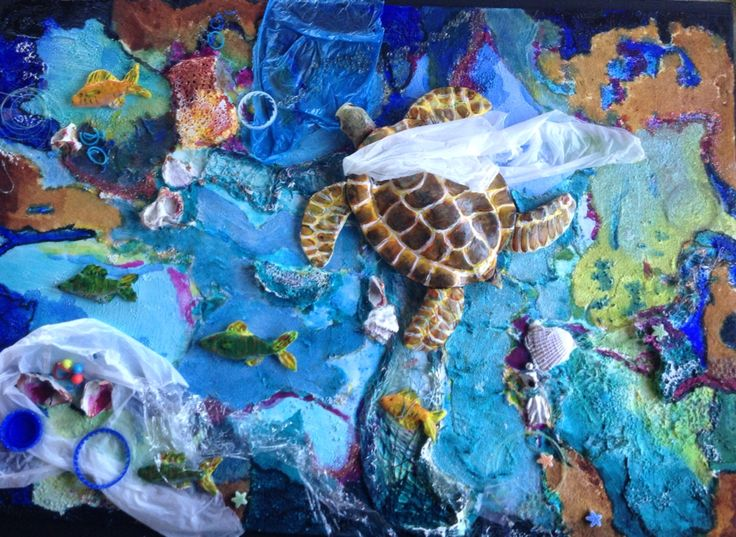 Poor Turtle ! Mixed media  An environment piece .