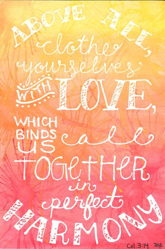 Original Scripture Art Colossians 3:14 Bible by BrietronArt