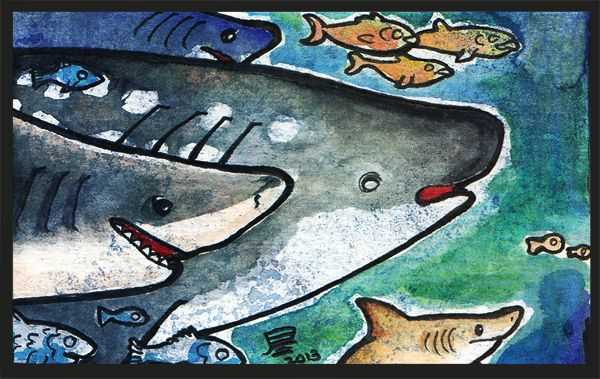 Sharks in watercolors and inks