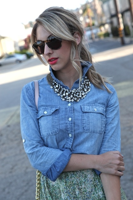 Looking for ways to wear chambray. I like the necklace but might be better inside the collar...