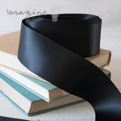 wide black satin ribbon. DIY wedding stationery supplies. 35mm black satin ribbon.