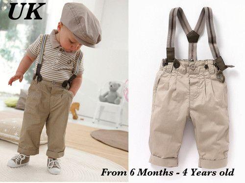 Boys 3pcs Smart Stripe Khaki Outfit Trousers Braces Top Photo Prop Wedding Baby | eBay