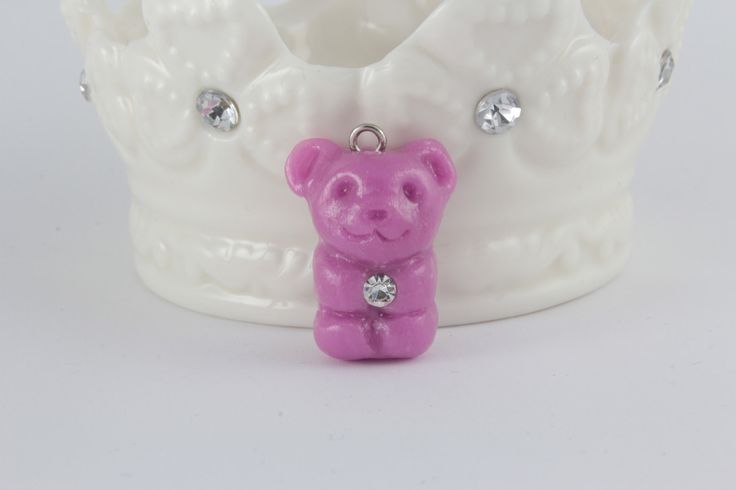 Grape Gummy Bear Crystal Keeper Charm, Polymer Clay Charm, planner charm, Candy Charm, jewelry charm, Keychain, Kawaii, polymer clay kawaii by PrisgemicInc on Etsy