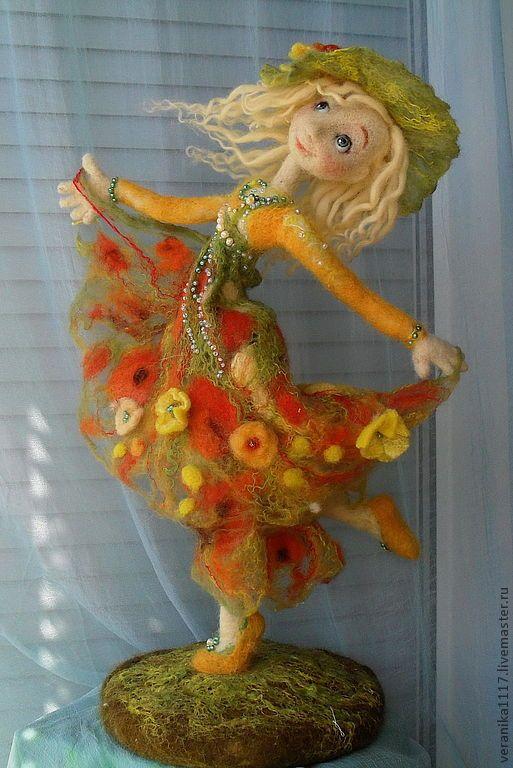 """Купить Авторская кукла """"Танец Солнечного Лета"""". - интерьерная кукла, валяние на каркасе, лето, танец"""
