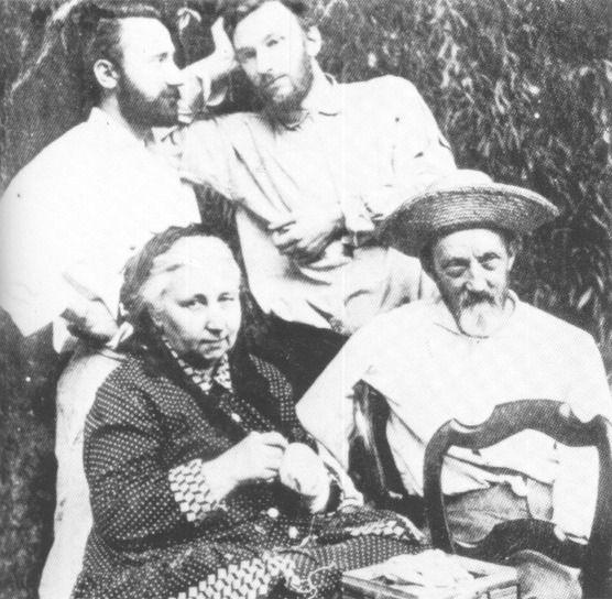 Jacques Curie (1856-1941, links) mit seinem Bruder Pierre Curie (1859-1906) und seinen Eltern Eugène Curie (1827-1910) und Sophie-Claire Depouilly (1832-1897)