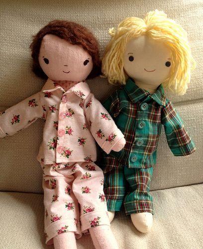 doll pajamas freebie pattern (from Wee Wonderfuls; they also fit the Storybook and Kitty dolls from her book)