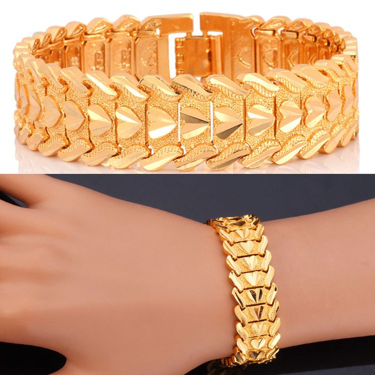 Yellow Gold Plated Bangles Bracelets Valentine's Day Gift Vintage Big Heart Men Jewelry Wholesale H423
