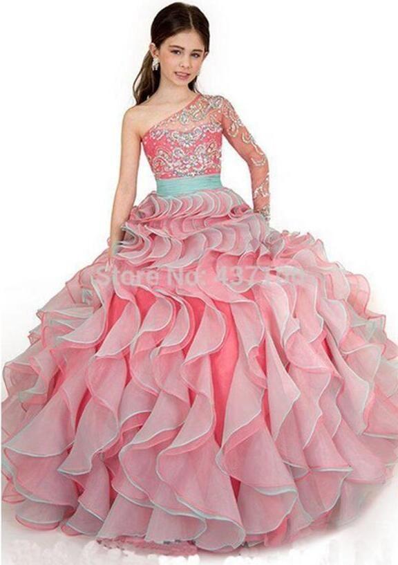 Одно плечо 2016 Девушки Pageant Платья Бальное платье See Through Розовый Органзы Оборками Из Бисера Длинные Детские Платья Для свадьбы