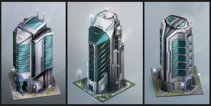 Anno 2070: Tech Buildings, Tobias Frank on ArtStation at http://www.artstation.com/artwork/anno-2070-tech-buildings