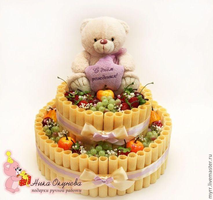 Купить Тортик из конфет в виде кремовых трубочек с игрушкой - торт, торт из конфет, вкусный букет