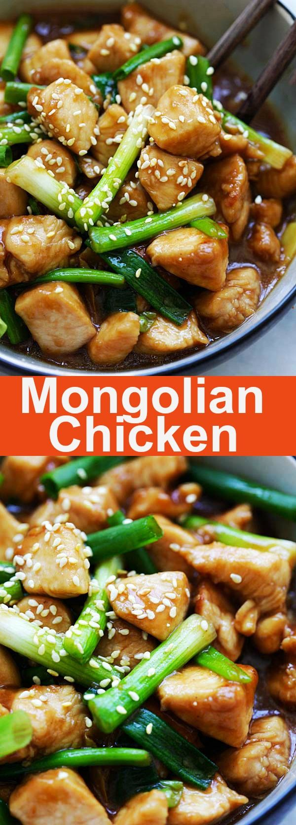 Mongolian Chicken – tender and juicy Chinese chicken stir-fry with scallions and brown sauce. This Mongolian Chicken recipe is so much better than takeout | rasamalaysia.com