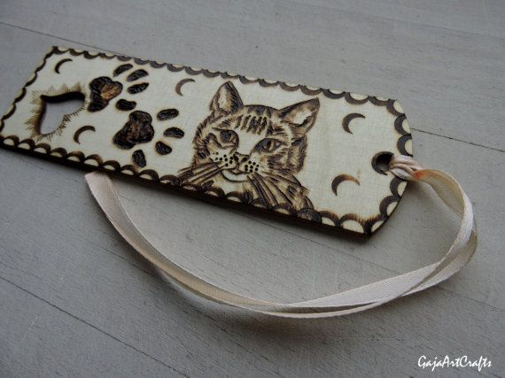 Kitty and cat's paws wooden bookmark For cats lovers