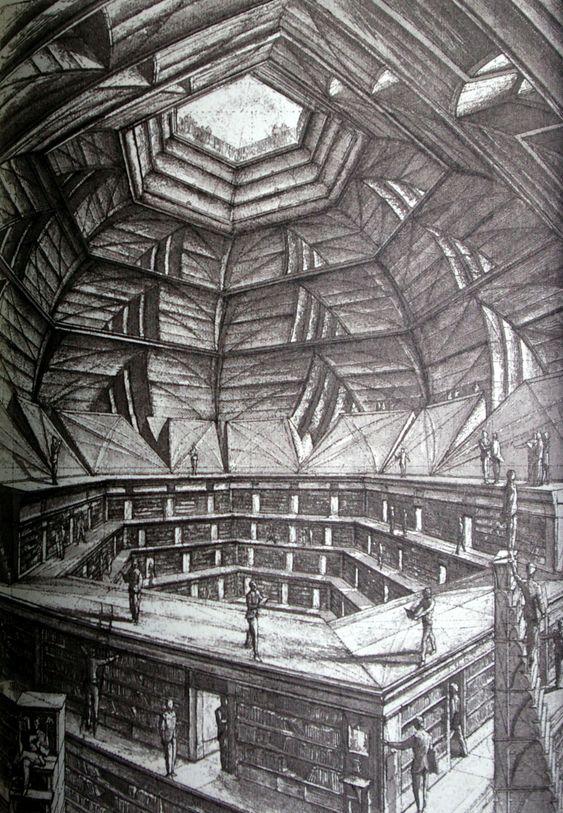Jorge Luis Borges. The Library of Babel. Illustrations by Erik Desmaziéres. 1965.