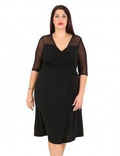 Black crepe dress with mesh yoke details - Plus size, for curvy girls