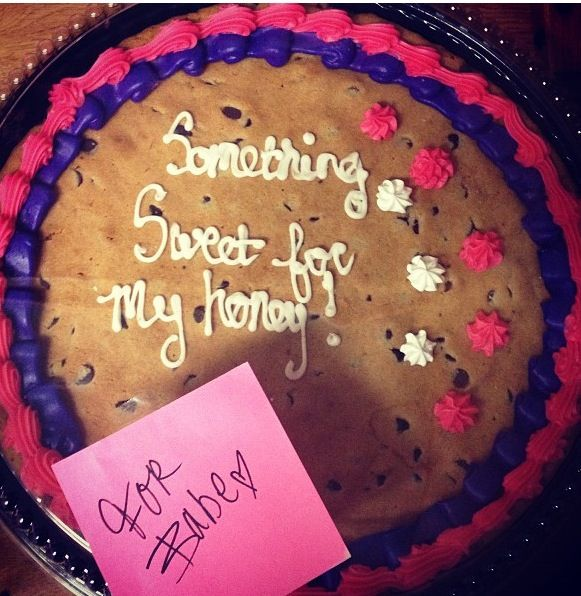 """My boyfriend had told me that he had never had cookie cake before so one day after class I surprised him with one! """"Something sweet for my honey."""""""